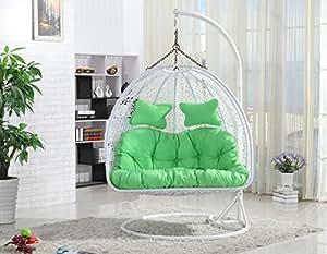 xxl h ngesessel mit gestell vogelnest von elfnick f r 2 personen inkl polster wei amazon. Black Bedroom Furniture Sets. Home Design Ideas