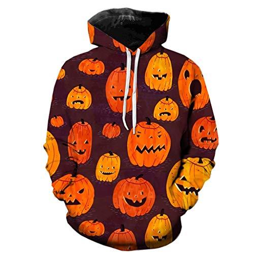 Andouy Herren Horror Halloween Kostüm Komisch 3D Gedruckt Party Kapuze Oberteile Lange Ärmel Kapuzenpullover Sweatshirt(S.Gelb-3) (Red Tutu M&m Teen Kostüm)