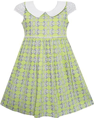 FR93 Sunny Fashion - Vestido animal print para niña verde 6 años