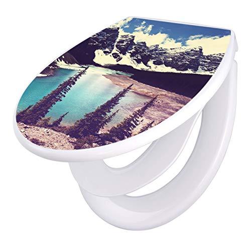 banjado Familien WC Sitz mit Absenkautomatik | Toilettendeckel mit Kindersitz | Klodeckel weiß | Toilettensitz mit Soft Close | 44 x 37 cm WC Deckel mit Motiv Kanada