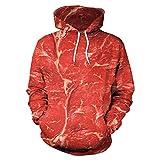 Kanpola Herren Damen Unisex 3D Printed Raw Fleisch Pullover Langarm Tops Bluse mit Kapuze Hoodie Sweatshirt,001