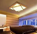 HHORD Holz Square Decke Lampe Wohnzimmer Solide Holz Nordic Protokolle Zimmer Schlafzimmer Geometrische Holz Leuchten LED Holz Deckenbeleuchtung Fläche von 15 m ² -30 Quadratmeter (800 * 800 mm), 1