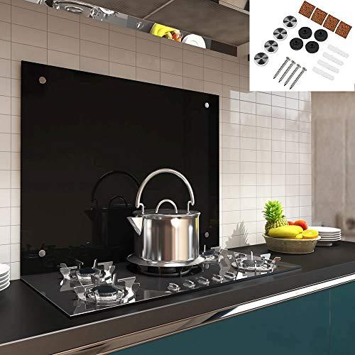 Melko Spritzschutz Herdblende aus Glas, für Küche, Herd, Fliesen, 6 mm ESG Sicherheitsglas, Küchenrückwand, inkl. Schrauben, 80 x 40 cm, Schwarz