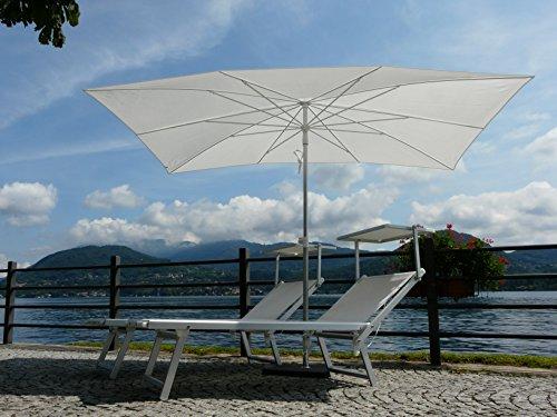 Maffei Art 138r Kronos Sonnenschirm rechteckig cm 200x 300, Stoff Polyester wasserdicht. Made in Italy. Farbe weiß