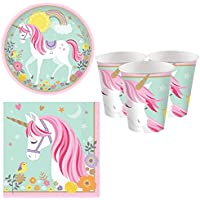 Fancy Me Girls Pretty Pastel Magical Unicorn Birthday Party Celebration Paper Tableware Decorations