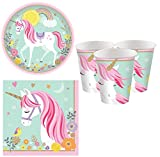 Fancy Me Girls Pretty Pastel Magical Unicorn 32pc Tableware Set Plates Cups Napkins Birthday Party Celebration Paper Tableware Decorations (Tableware Set)