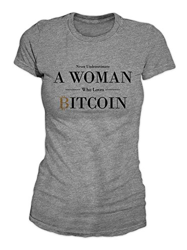 RiotBunny Never Underestimate A Woman Who Loves Bitcoin Cryptocurrency BTC Ltc Digital Currency T-Shirt Camiseta Mujeres Gris Medium