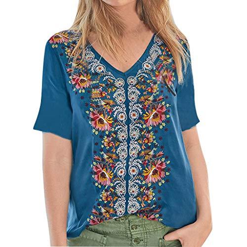 ZYUEER Damen Oberteile Elegant Frauen Mode Splice Retro Solid Print Beiläufige Lose Shirt Tanic T-Shirt Bluse Tops Shirt -