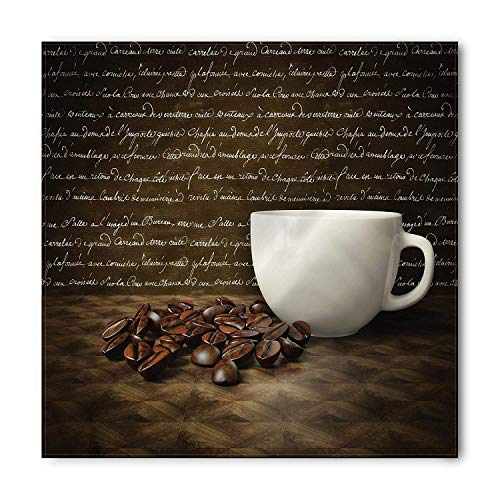 tgyew Coffee Bandana, White Cup and Beans Artwork, Unisex Head and Neck Tie,39.3 * 39.3inch Renaissance-baby Cup