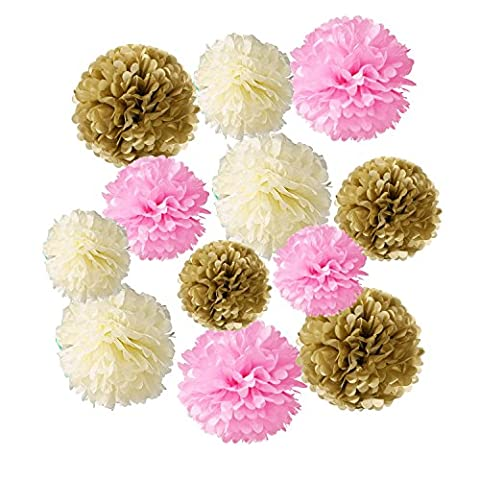 Wartoon Tissue Paper Pom Poms Flowers for Wedding Birthday Party Baby shower Decoration, 12 pieces ( Pink, Ivory White and Gold )