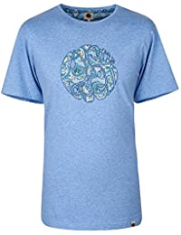 Pretty Green Paisley Print Applique Logo Tshirt In Blue MARL