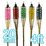 4ft Bamboo Torches For Garden Decor (Pack of 20, Colored)