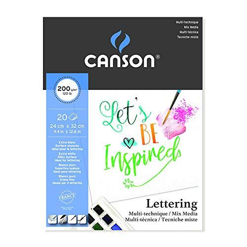 Bloc Dibujo Multitecnicas Canson Lettering Mix Media 24x32 Cm 20 Hojas 200 Gr