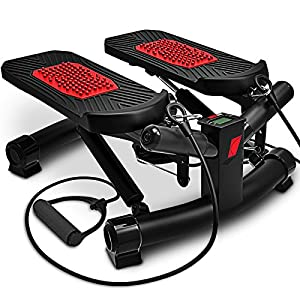 Sportstech 2in1 Twister Stepper mit Power Ropes – STX300 Drehstepper & Sidestepper für Anfänger & Fortgeschrittene, Up-Down-Stepper mit Multifunktions-Display, Hometrainer Widerstand einstellbar