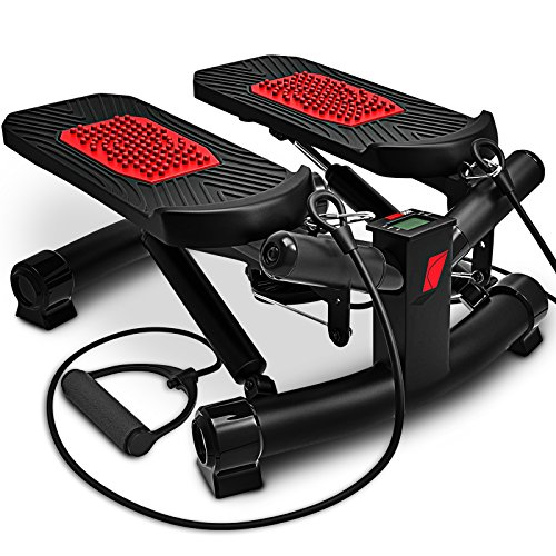 Sportstech 2in1 Twister Stepper mit Power Ropes - STX300 Modell 2019 Drehstepper & Sidestepper für Anfänger & Fortgeschrittene, Up-Down-Stepper mit Multifunktions-Display, Hometrainer Widerstand -
