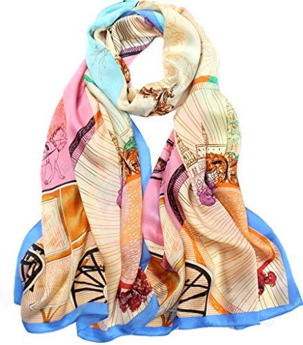 Helan femmes Réel Soie Naturelle 175 X 65 cm Foulards longs floral bleu et rose