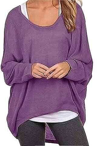 ZIOOER Damen Lose Asymmetrisch Sweatshirt Pullover Bluse Oberteile Oversized Tops T-shirt Lila L