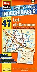 Lot-et-Garonne (47). Carte Départementale, Administrative et Routière (échelle : 1/180 000)