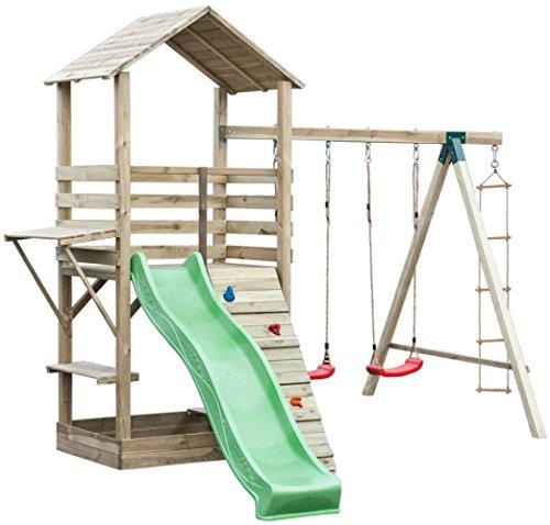 Spielturm 17B inkl. Wellenrutsche, Kletterwand, Doppelschaukel-Anbau und Strickleiter – Abmessungen: 315 x 370 cm