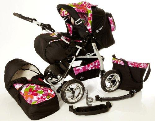 Chilly Kids iCaddy 2 in 1 passeggino combinato (parapioggia, zanzariera, vassoio di bevande, fasciatoio, 49 colori) 17 nero & fiori rosa