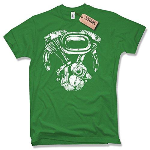 BIKER MOTOR, SHIRT, Oldschool, verschiedene Farben, Gr. S - XXL Grün / Green