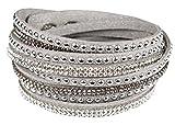 Mevina Damen Strass Armband Wickelarmband Armschmuck mit echten Kristallen in viele Farben Grau A1106
