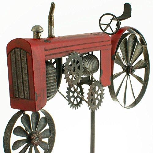 Windspiel Trecker Traktor rot Metall Windrad Garten Dekoration Terrasse - 2