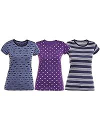 VIMAL JONNEY Multicolor Cotton Tshirts for Women (Pack of 3) (LT_KF_NV_PRT5PU_STR_NV_03-P)