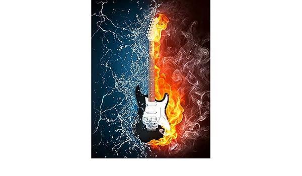 MUSIC INSTRUMENT GUITAR FIRE WATER POSTER ART PRINT LV10360