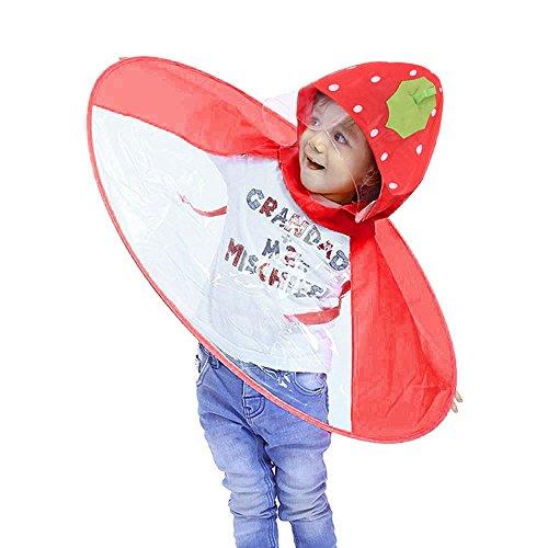 Poncho Impermeabile per bambini LandFox kids raincoat Bambino Unisex Bambina Impermeabile Mantella Antipioggia Bambino Di Pioggia Incappucciati Poncho kawaii (fragola A, Small)
