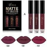 Moresave 3 Farben/Set Matt Flussige Lippenstifte Set Langlebig Wasserdicht Bilden Pigments Samt Rot Lila Lipgloss Kit