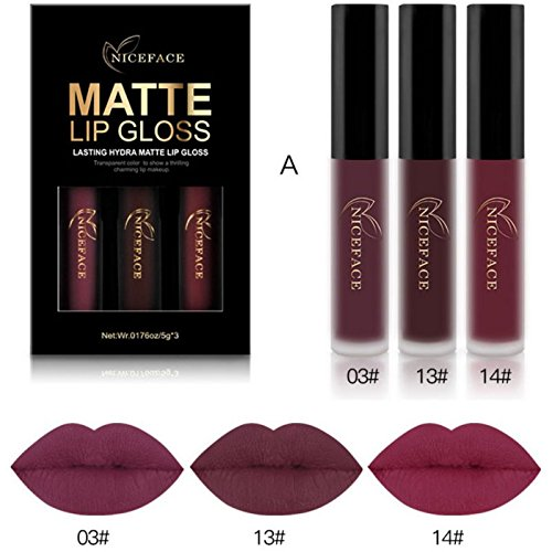 Moresave 3 Farben / Set Matt Flussige Lippenstifte Set Langlebig Wasserdicht Bilden Pigments Samt Rot Lila Lipgloss Kit