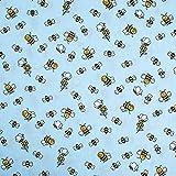 SCHÖNER LEBEN. Baumwollstoff Bienen Blumen hellblau weiß