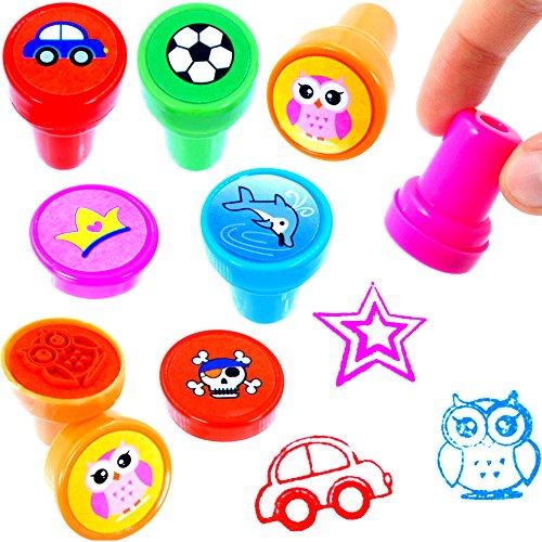 - 12 x Stempel Mix für Kinder ┃ NEU ┃ Multicolor ┃ Mitgebsel ┃ Kindergeburtstag ┃ 12 Stück (Rennen-auto-einladungen)