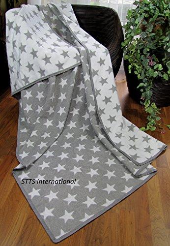 Baumwolldecke Wohndecke Kuscheldecke Tagesdecke 100% Baumwolle sehr weiches Plaid Korsika (Grau-Weiß (Stern), 140 x 205 cm) (Baumwolle 100% Sterne)