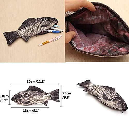 TianranRT Karpfen Stift Tasche Realistisch Fisch Form Make-up Beutel Federmäppchen Mit Reißverschluss Realistische - Handy-kästen Für 3 Anmerkung