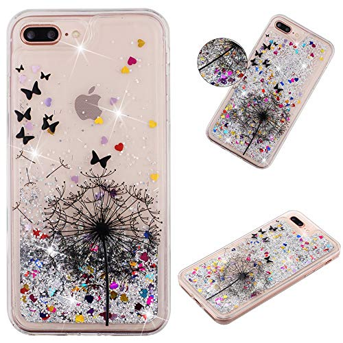 Miagon Flüssig Hülle für iPhone 7 Plus und iPhone 8 Plus,Glitzer Weich Treibsand Handyhülle Glitter Quicksand Silikon TPU Bumper Schutzhülle Case Cover-Löwenzahn Schmetterling
