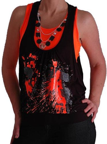 Graphic Design Druck Neon Fashion Top mit Perlen Schwarz & Orange M/L