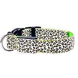 Haustier Hundehalsband Leopard Style 2,5 cm breite LED 3 Modus blinkende leuchtende Beleuchtung Sicherheit für kleine mittlere große Haustier