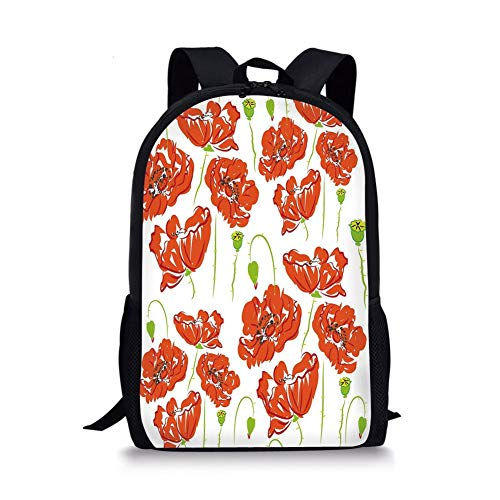School Bags Anemone Flower,Doodle Style Poppy Anemone Field in Full Blossom May Flowers Decorative,Scarlet Lime Green Black for Boys&Girls Mens Sport Daypack -