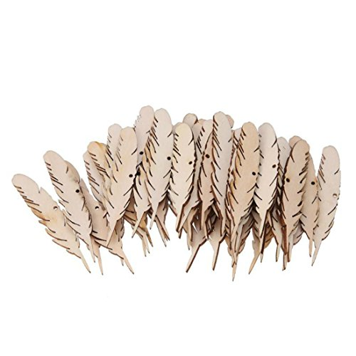 (50//Tüte Feder 2,5mm Holz Chips mit Seilen DIY Craft Dekoration für Wand Hochzeit Party Raum Dekoration Zubehör)
