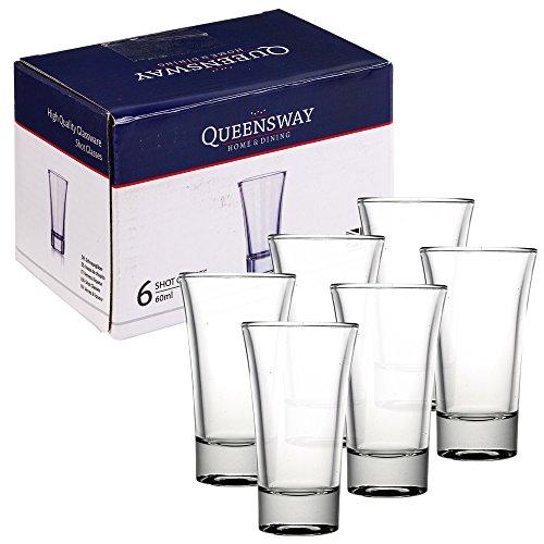 Queensway - 60ml Schnapsgläser, geeignet für Whiskey, Wodka, Tequila und andere alkoholische Spirituosen, 6 Shot Glasses (Glas-shot Gläser Bulk)