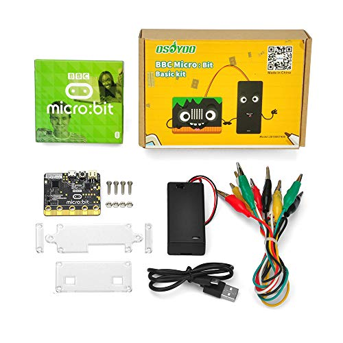OSOYOO Basic kit learn programming for BBC Micro:bit micro-controller with motion detection, compass, LED display and Bluetooth for kids and beginners (not include 2x AAA batteries) (Science-display-board)
