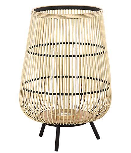 Dehner Bambus-Laterne Alicia, Ø 42 cm, Höhe 60.5 cm, Bambus/Glas/Metall, beige/schwarz Schwarzer Bambus