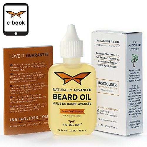 Instaglider Natürliches Bartöl, Bart-Pflegeprodukt für Vollbart, Dreitagebart & Schnurrbart, Effektiv den Bart Weicher Machen, Gegen Jucken & Kratzen, 100% Bio & Vegan, für dein Tägliches Bartstyling