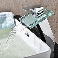 JinRou personalità unica di design moderno in vetro scanalatura chrome cascata rubinetto bagno