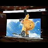 HiViLux – Pantalla tensada para proyector UHD 4 K / 3D / Full HD, ganancia 1.0, tela blanca profesional de cine, solo 13 cm de altura de montaje, con mando a distancia