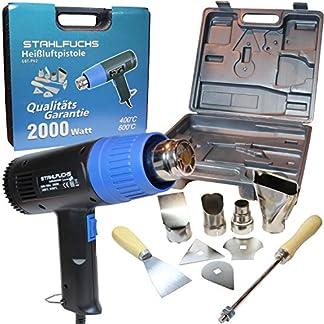 Stahlfuchs – Pistola de aire caliente con maletín y accesorios, 2000W, 2niveles 400 – 600°C