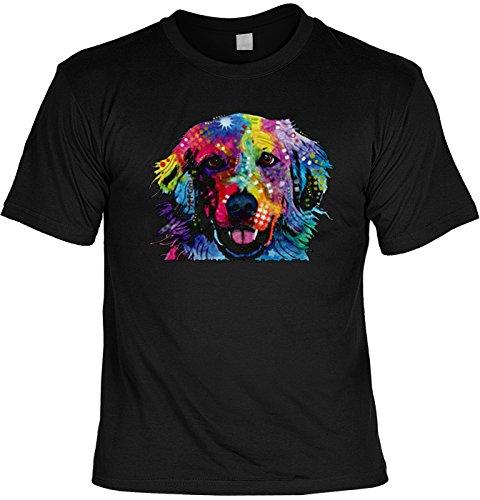 Color T-Shirt Neon Golden Retriever Shirt 4 Heroes Geburtstag Geschenk geil bedruckt Schwarz