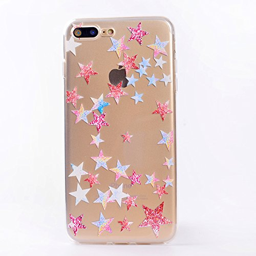 iphone 7 Plus Handyhülle,iphone 7 Plus Silikon Hülle,Cozy Hut 3D Handyhülle Muster Case Cover Für iphone 7 Plus Liquid Crystal Ultra Dünn Crystal Clear Transparent Handyhülle Soft Cover Premium Anti-S Fünfzackigen Stern